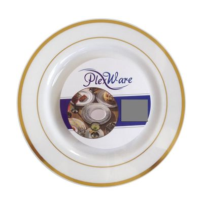 """Plexware Collection 10.25"""" White w/ Gold Band Dinner Plastic Plates 10ct."""