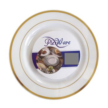 """Plexware Collection 10.25"""" White w/ Silver Band Dinner Plastic Plates *Case of 120*"""
