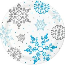 "Winter Snowflake 9"" Christmas Dinner Paper Plates, 8 count"