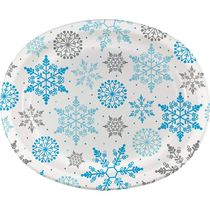 "Winter Snowflake Christmas 10"" x 12"" Oval Plates/Platters, 8 count"