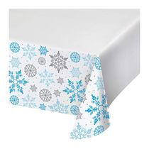 "Winter Snowflake Christmas 54"" x 102"" Plastic Tablecover"