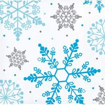 Winter Snowflake Christmas Paper Beverage Napkins, 16 count