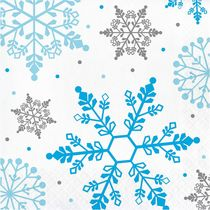 Winter Snowflake Christmas Paper Lunch Napkins, 16 count