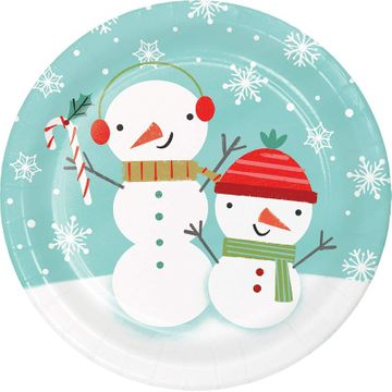 "Winter Snowman 7"" Christmas Dessert Paper Plates, 8 count"