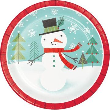 "Winter Snowman 9"" Christmas Dinner Paper Plates, 8 count"
