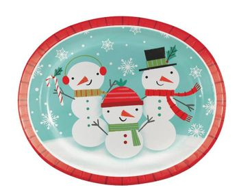 """Winter Snowman Christmas 10"""" x 12"""" Oval Plates/Platters, 8 count"""