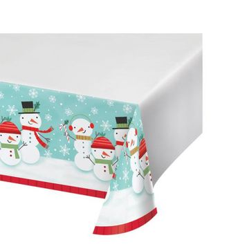 "Winter Snowman Christmas 54"" x 102"" Plastic Tablecover"