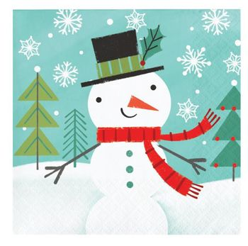Winter Snowman Christmas Paper Beverage Napkins, 16 count