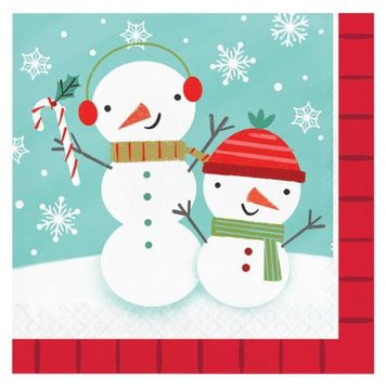Winter Snowman Christmas Paper Lunch Napkins, 16 count