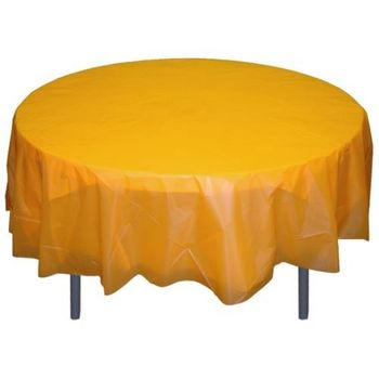 "Yellow 84"" Round Plastic Tablecloths"