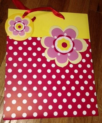 Yellow & Red Dot/Floral Medium Gift Bag With Ribbon Handle & Gift Tag