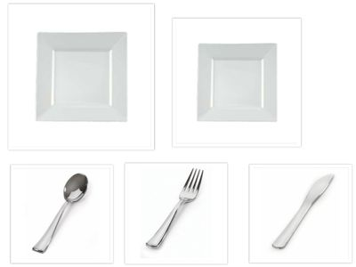 Yoshi China Disposable Plastic White Square Plates + Cutlery *Service for 100*