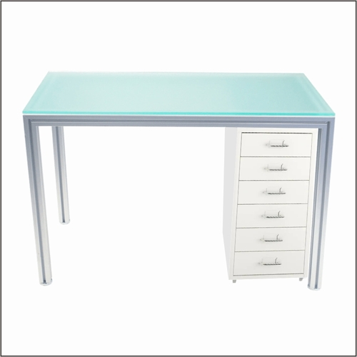 Aluminum  Optical Dispensing Table with White Cabinet