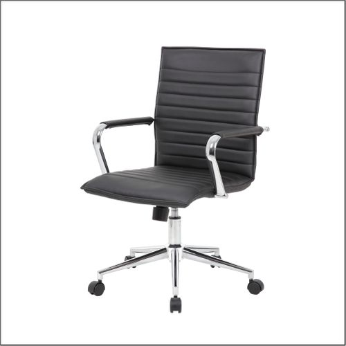 Optical Task Chair with Fixed Chrome Arms in Black