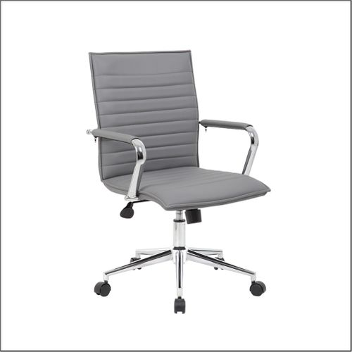 Optical Task Chair with Fixed Chrome Arms in Grey