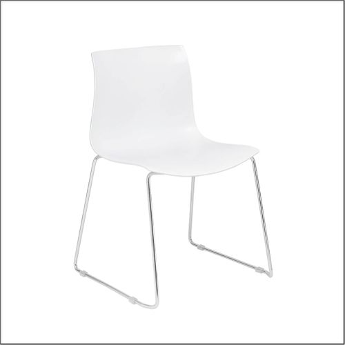 4 White Client Chairs With Chrome Frame - 4 Chair Set for Optical Office