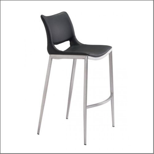 Client Bar Chairs - Black & Brushed Stainless Steel