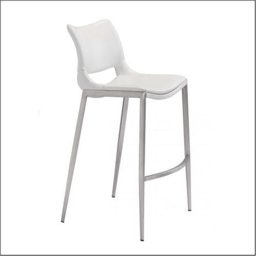 Optical - Client Bar Chairs - White & Brushed Stainless Steel