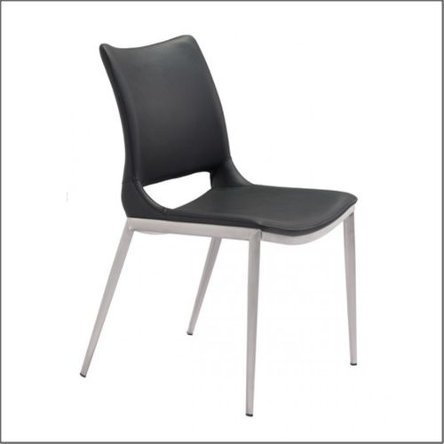 Client Chairs - Black & Brushed Stainless Steel