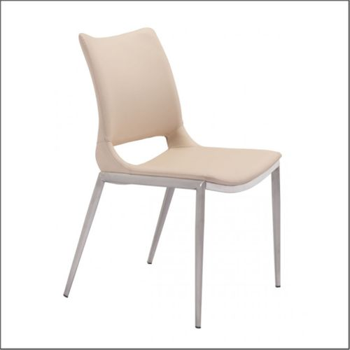 Client Chairs - Light Pink & Brushed Stainless Steel