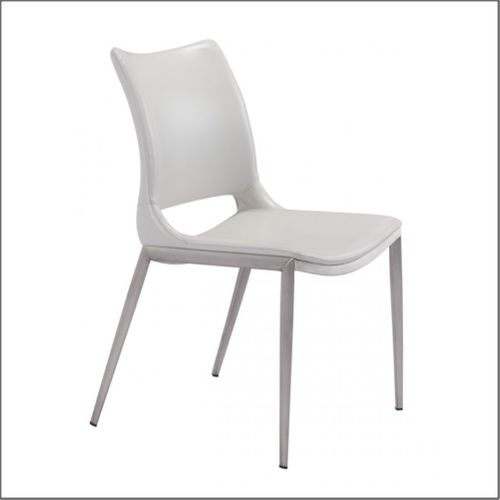 Optical  - Client Chairs - White & Brushed Stainless Steel