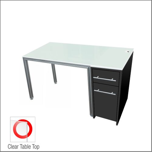 Dispensing Table With Aluminum Structure, Black-Laminated  Cabinet and Computer Station