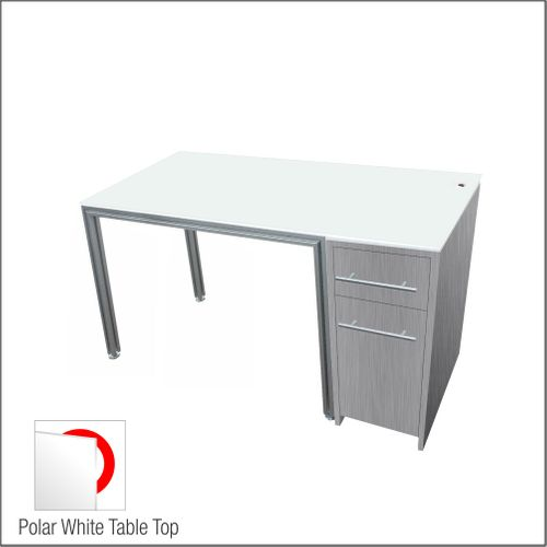 Dispensing Table With Aluminum Structure, Brushed-Silver-Laminated  Cabinet and Computer Station