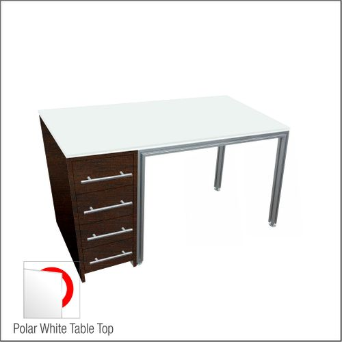 Dispensing Table With Aluminum Structure, Espresso-Laminated Cabinet with Four Drawers