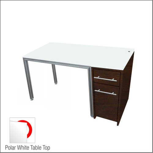 Dispensing Table With Aluminum Structure, Espresso-Laminated  Cabinet and Computer Station
