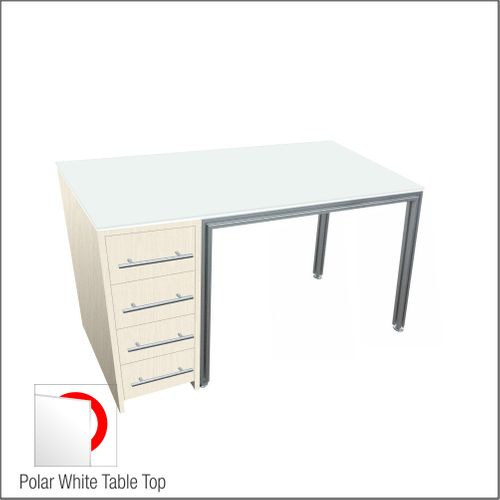 Optical Dispensing Table With Aluminum Structure, Highrise-Laminated Cabinet with Four Drawers