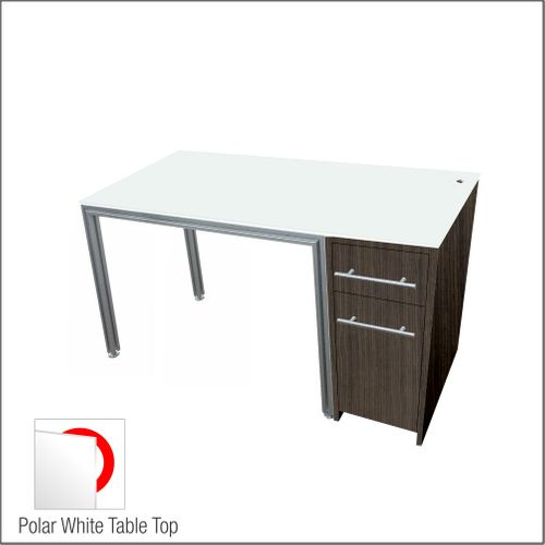 Dispensing Table With Aluminum Structure, Walnut-Laminated  Cabinet and Computer Station