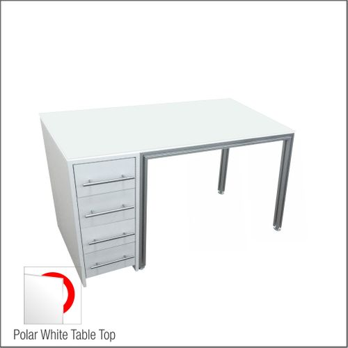 Dispensing Table With Aluminum Structure, White Wooden Cabinet and Four Drawers