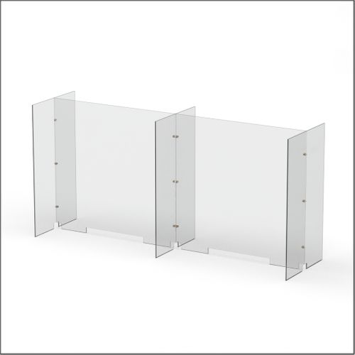 Modular Expandable Double-sided Sneeze Guards 73.386(W) x 35.433(H) x 19.695(D) inches- Set XBXBX