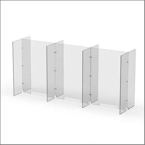Modular Expandable Double-sided Sneeze Guards 74.646(W) x 35.433(H) x 19.695(D) inches- Set XAXAXAX