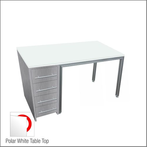 Optical Dispensing Table With Aluminum Structure, Brushed-Silver Cabinet with Four Drawers