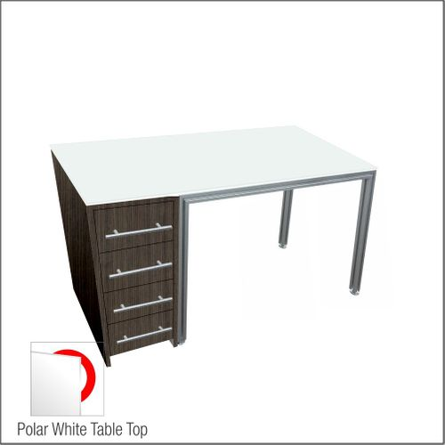 Optical Dispensing Table With Aluminum Structure, Walnut-Laminated Cabinet with Four Drawers