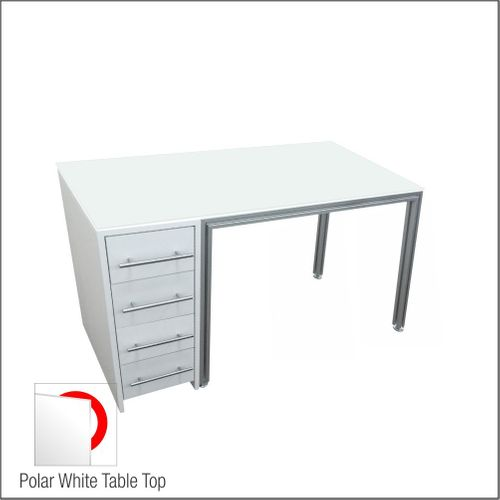 Optical Dispensing Table With Aluminum Structure, White Wooden Cabinet and Four Drawers