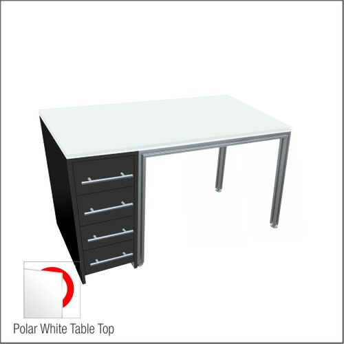 Optical Dispensing Table With Aluminum Structure, Black-Laminated Cabinet with Four Drawers
