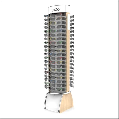 Stock 120pc Floor Curved Header Maple 105 Optical Frame Display