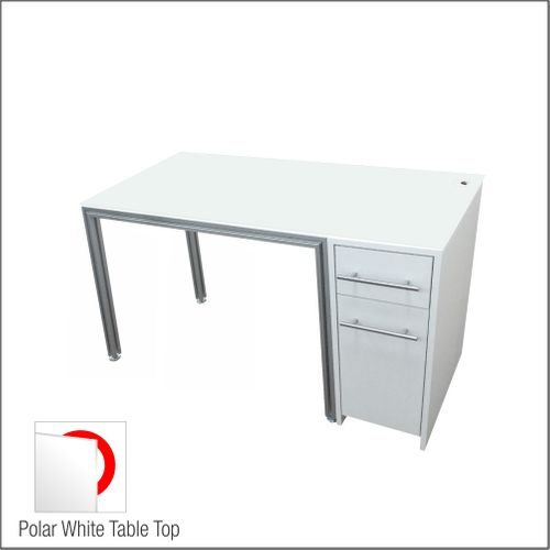 Dispensing Table With Aluminum Structure, White Wooden Cabinet and Computer Station