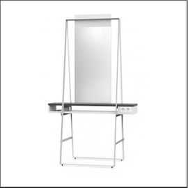 Styling unit for 2 persons with 1 mirror and 1 double power socket on both sides, with integrated hair dryer support