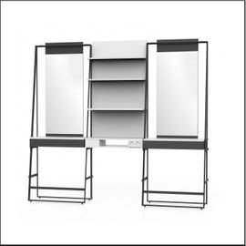 Styling unit wall for 2 persons, with 1 compartment in the middle, 1 panel with shelves and 1 double power socket