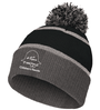 KNIT POM BEANIE WITH EMBROIDERED LOGO