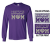 VOLLEYBALL MOM LONG SLEEVE TEE - GLITTER PRINT