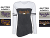 WOMEN'S GAME DAY LONG SLEEVE TEE - GLITTER PRINT