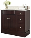 37.8-in. W Floor Mount Coffee Vanity Set For 3H8-in. Drilling Beige Top Biscuit UM Sink