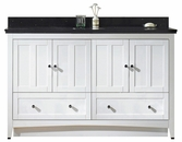 American Imaginations 59-in. W Floor Mount White Vanity Set For 1 Hole Drilling Black Galaxy Top White UM Sink