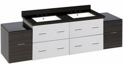 74.5-in. W Wall Mount White-Dawn Grey Vanity Set For 3H8-in. Drilling Black Galaxy Top White UM Sink