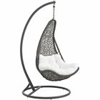 Modway Abate Outdoor Patio Wicker Rattan Swing Chair With Stand in Gray White MY-EEI-2276-GRY-WHI-SET