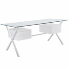 Modway Abeyance Stainless Steel Office Desk in White MY-EEI-1182-WHI